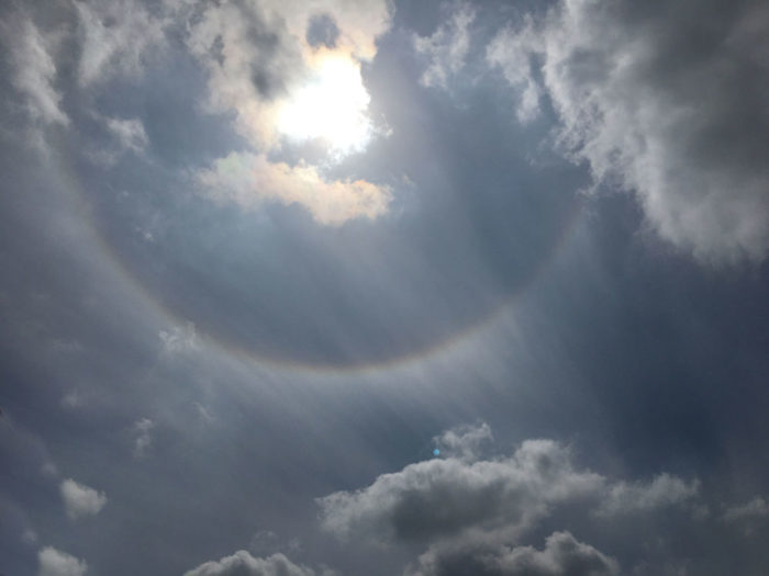 A section of halo over Glossop, Derbyshire, UK.