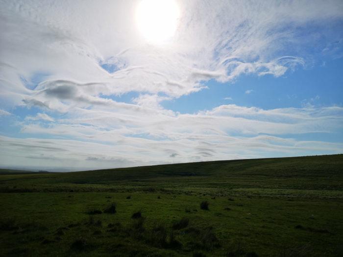 Asperitas clouds on the wing over Dartmoor, UK.