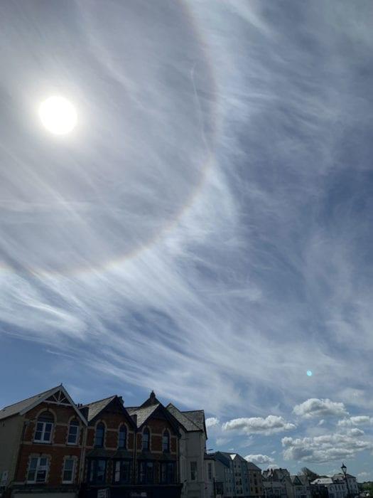 A halo over Bude, Cornwall, UK.