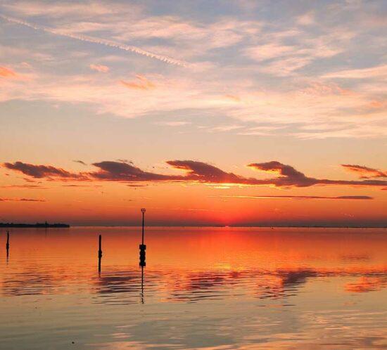 A sunset over the lagoon, Venice.