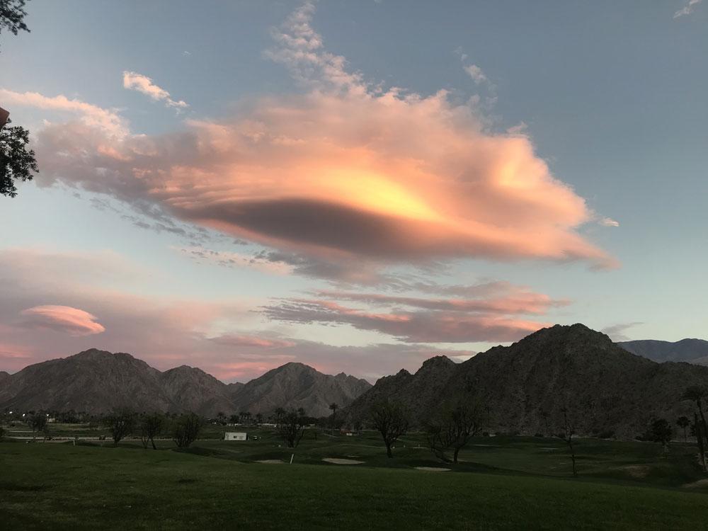 A sunset over La Quinta, California, US.