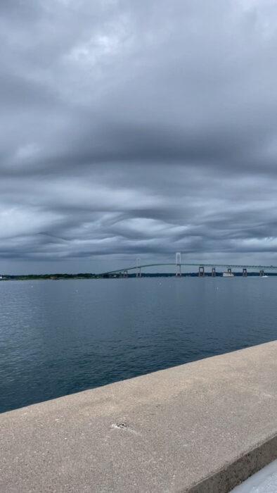 A formation of asperitas over Narragansett Bay, Rhode Island, US.