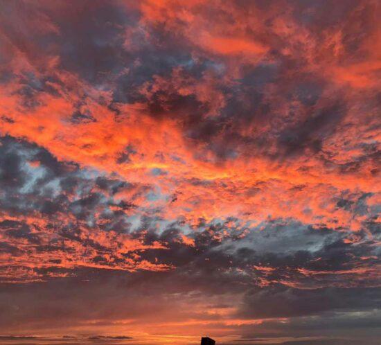 A sunset over the Lancashire coast at Fleetwood, UK.