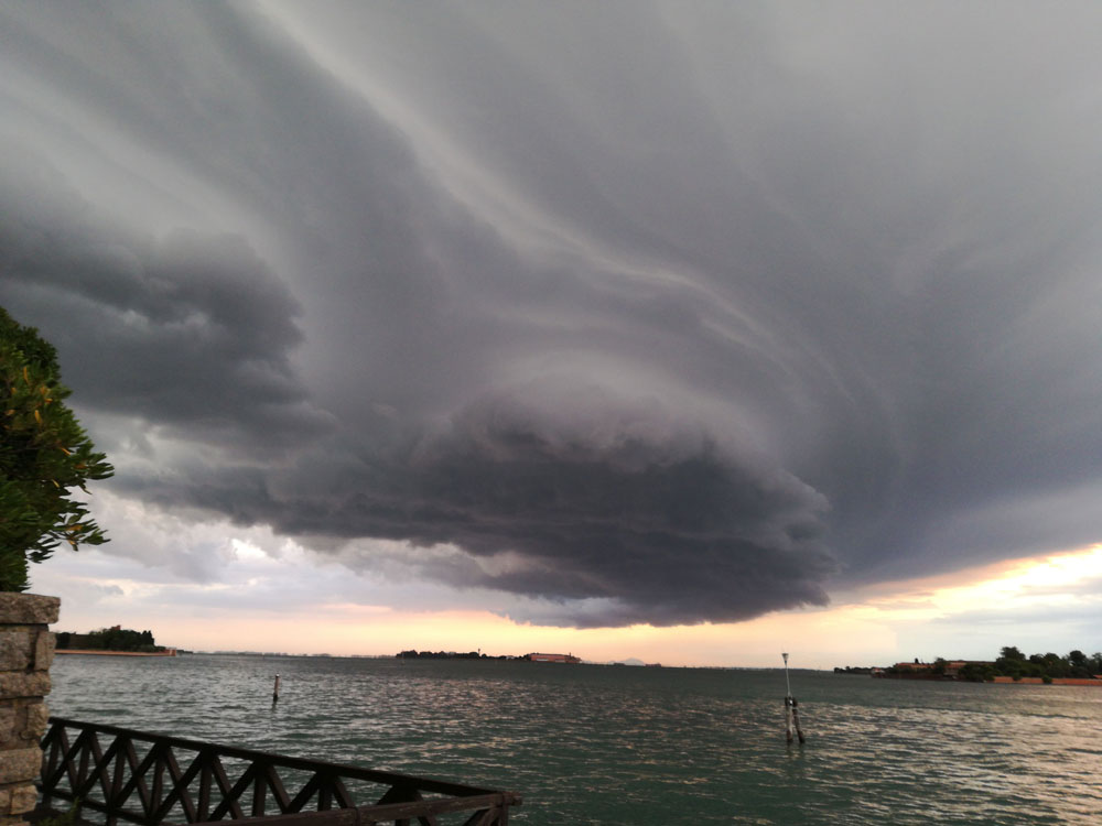 A storm system over Venice, Italy.